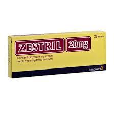 Zestril Lisinopril 20mg  Astra Zeneca 40 Tablets